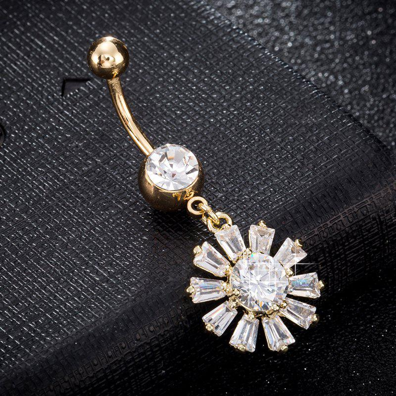 New Blooming Petal Zircon Navel Ring P0241