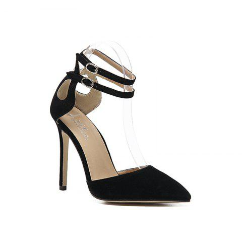 Chic Woman'S Pointed Hollow Buckle Hollow Heel Shoe