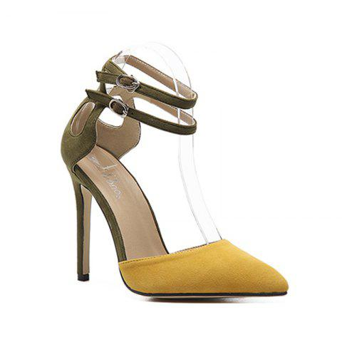 Shops Woman'S Pointed Hollow Buckle Hollow Heel Shoe
