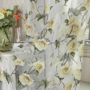 Peony European and American Flower Curtain Window Screen -