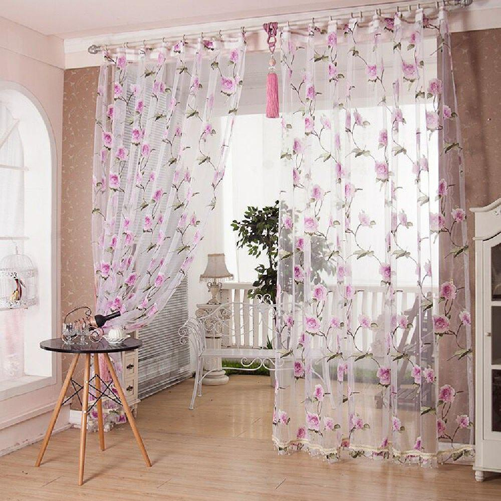 Outfits Peony European and American Flower Curtain Window Screen