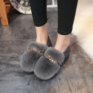 2017 Autumn and Winter Plus Cashmere Wool Hair Peas Shoes -