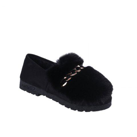 Shops 2017 Autumn and Winter Plus Cashmere Wool Hair Peas Shoes