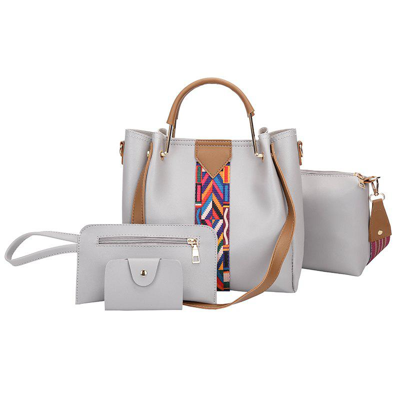 Hot The New Fashion Ribbon of The Four-Piece Bag with A Simple Shoulder Slanted Shoulder Bag