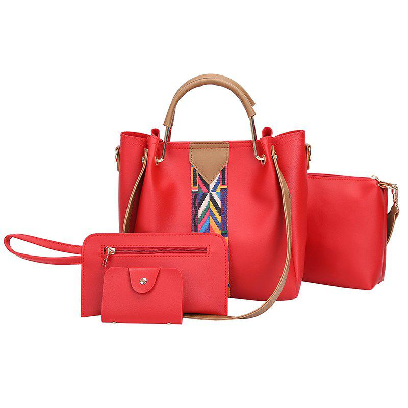 Store The New Fashion Ribbon of The Four-Piece Bag with A Simple Shoulder Slanted Shoulder Bag