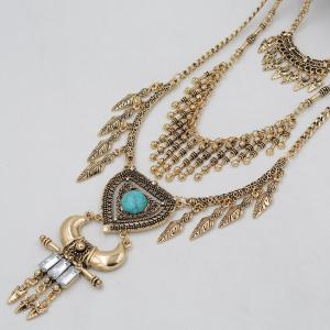 Vintage Multi-Layered Leaf Necklace for Women Gold Silver Arrow Tassel Heart Shaped Turquoise Horns Necklaces Pendants -
