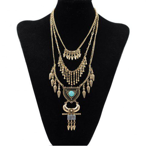 Buy Vintage Multi-Layered Leaf Necklace for Women Gold Silver Arrow Tassel Heart Shaped Turquoise Horns Necklaces Pendants