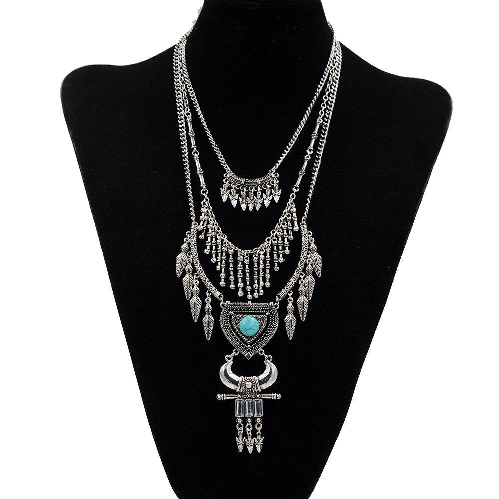 Chic Vintage Multi-Layered Leaf Necklace for Women Gold Silver Arrow Tassel Heart Shaped Turquoise Horns Necklaces Pendants