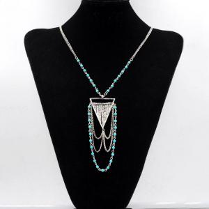 Bohemian Necklace Turquoise Ball Link Chain Multi-Tiered Triangle Geometric Necklaces Pendants for Women Gifts -