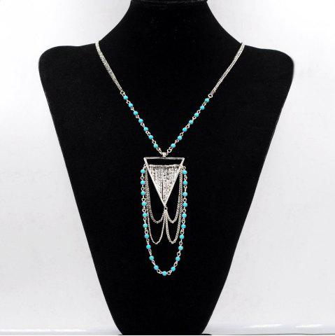 Hot Bohemian Necklace Turquoise Ball Link Chain Multi-Tiered Triangle Geometric Necklaces Pendants for Women Gifts