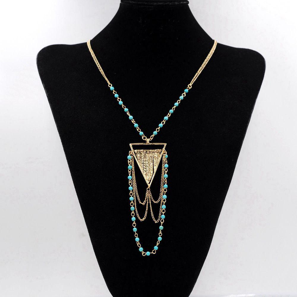 Shops Bohemian Necklace Turquoise Ball Link Chain Multi-Tiered Triangle Geometric Necklaces Pendants for Women Gifts