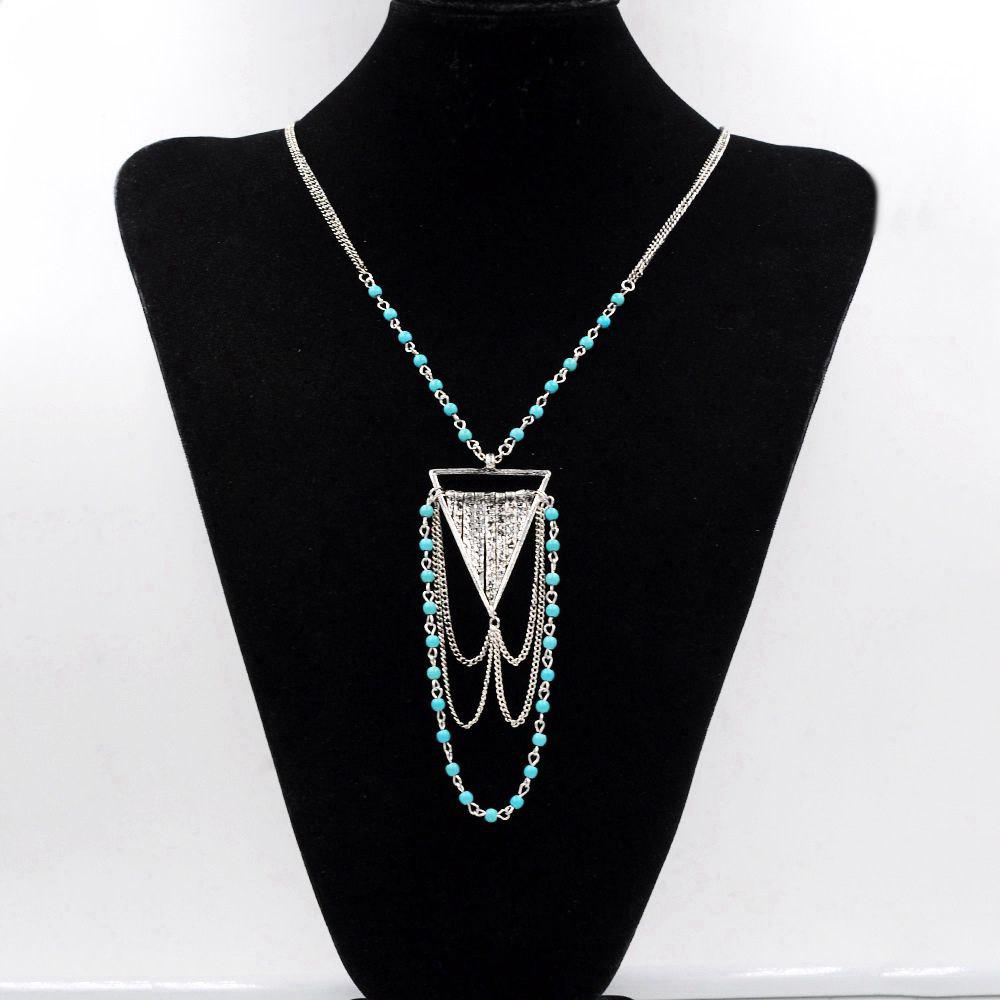 Bohemian Necklace Turquoise Ball Link Chain Multi Tiered Triangle Geometric Necklaces Pendants for Women Gifts 244167502