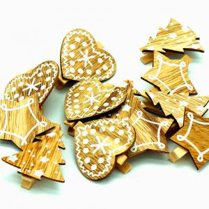 Red Christmas Variety Santa Claus Wooden Clip Christmas Decoration Wooden Clip 20PCS -