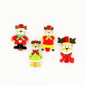 Red Christmas Deer and A Variety of Christmas Decorations Wooden Clip 20PCS -