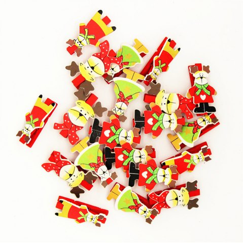 Trendy Red Christmas Deer and A Variety of Christmas Decorations Wooden Clip 20PCS