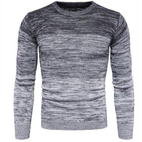 Online Men's Going out Casual Daily Holiday Simple Regular Pullover Color Block Round Neck Long Sleeves Wool Sweater