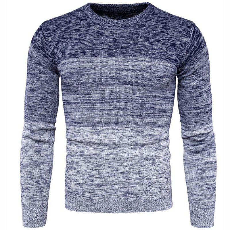 Shops Men's Going out Casual Daily Holiday Simple Regular Pullover Color Block Round Neck Long Sleeves Wool Sweater
