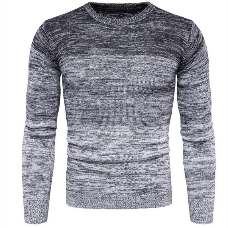 New Men's Going out Casual Daily Holiday Simple Regular Pullover Color Block Round Neck Long Sleeves Wool Sweater