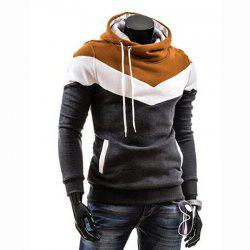 Hommes Taille Plus Color Block Sport Casual Hoodie -