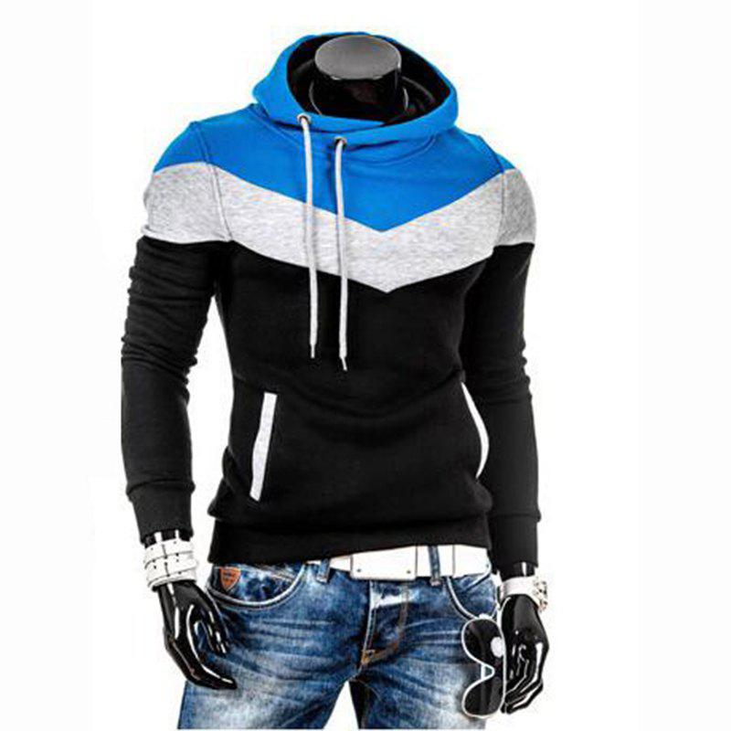 Online Men's Plus Size Color Block Sport Casual Hoodie