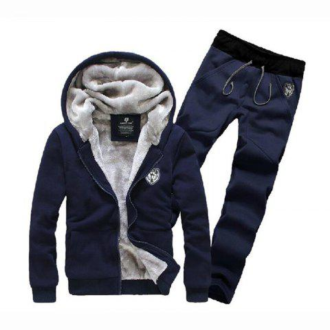 Chic Men's Sports Casual Daily Hoodie Solid Hooded Micro elastic Cotton Long Sleeves Suit
