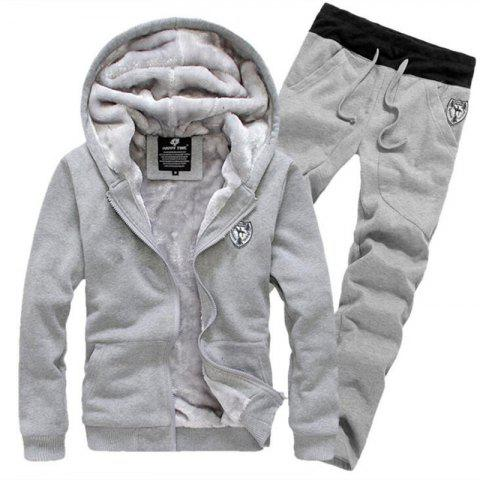 New Men's Sports Casual Daily Hoodie Solid Hooded Micro elastic Cotton Long Sleeves Suit