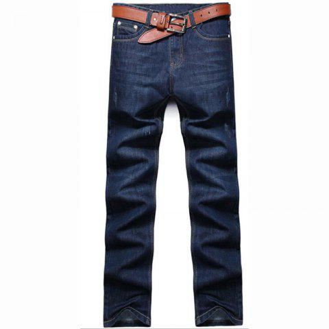 Trendy Men's High Rise Inelastic Jeans Pants Simple Jeans Solid