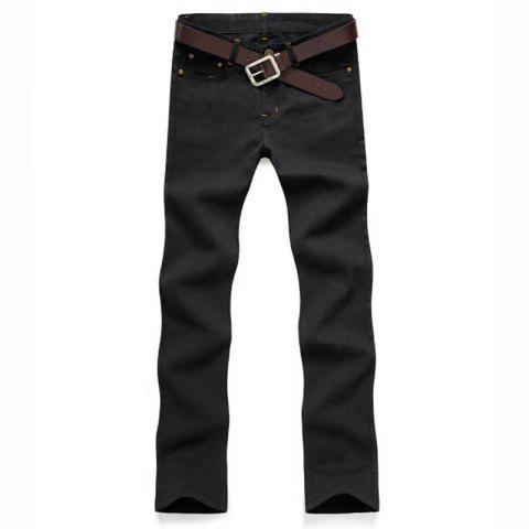 Hot Men's Mid Rise Micro Elastic Jeans Chinos Pants Simple Jeans Chinos Solid