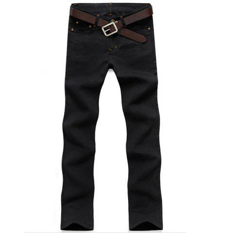 Online Men's Mid Rise Micro Elastic Jeans Pants Chinoiserie Simple Straight Solid