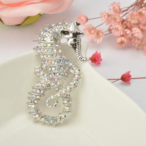 Cute Seahorse Brooches Fashion Silver-Color Animal Full Rhinestone Brooches Austrian Crystal Brooch Pin for Women Gifts -