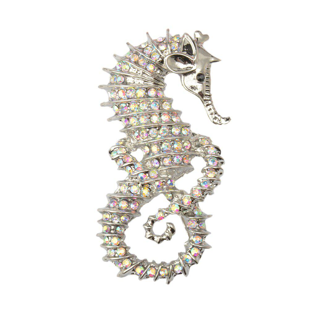 Chic Cute Seahorse Brooches Fashion Silver-Color Animal Full Rhinestone Brooches Austrian Crystal Brooch Pin for Women Gifts