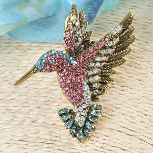 Colorful Rhinestone Hummingbird Brooch Animal Brooches for Women -