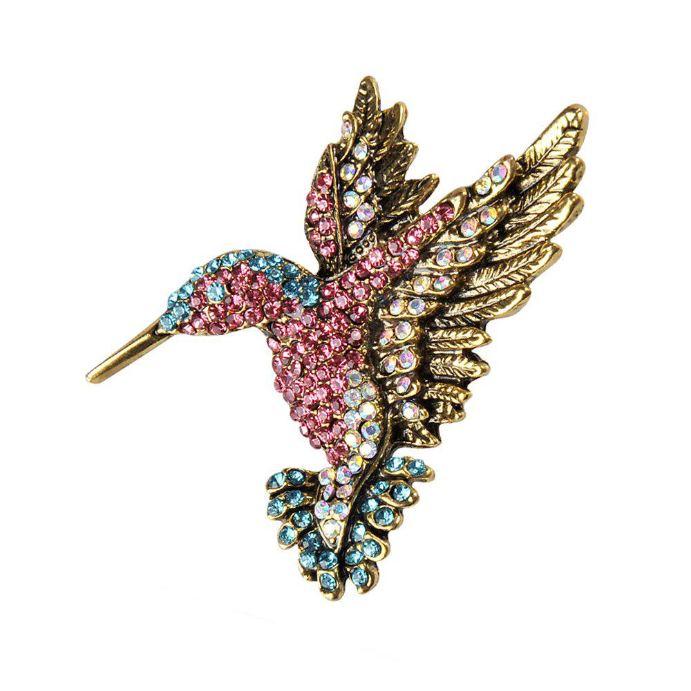 Fashion Colorful Rhinestone Hummingbird Brooch Animal Brooches for Women