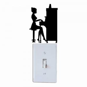 Girl Playing Piano Silhouette Light Switch Sticker Vinyl Music Decal Piano Wall Sticker -