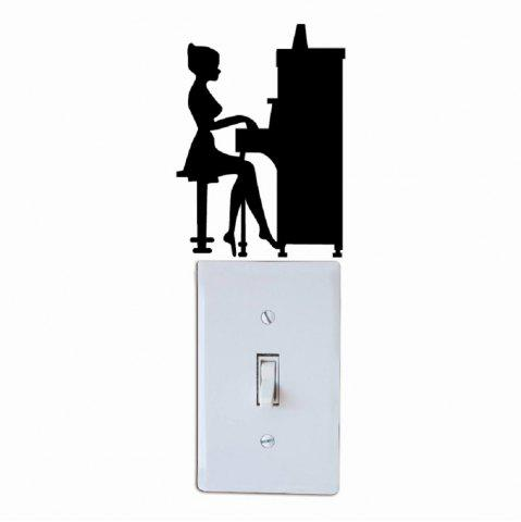Online Girl Playing Piano Silhouette Light Switch Sticker Vinyl Music Decal Piano Wall Sticker