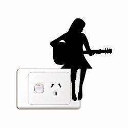 Girl Playing Guitar Silhouette Light Switch Sticker -