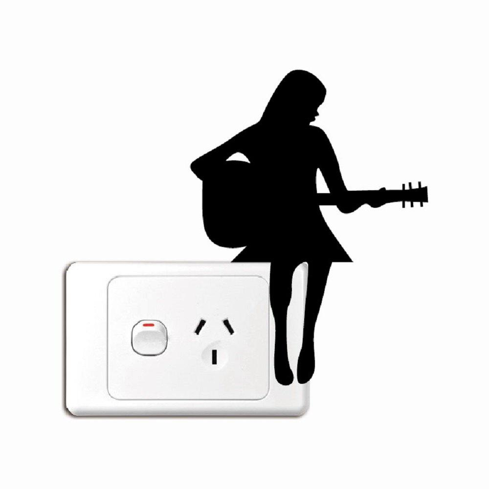 Cheap Girl Playing Guitar Silhouette Light Switch Sticker