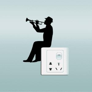 Music Silhouette Light Switch Sticker Trumpet Wall Decal -