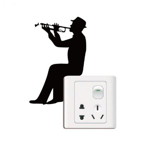 New Music Silhouette Light Switch Sticker Trumpet Wall Decal