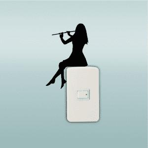Girl Playing Flute Silhouette Light Switch Sticker Classical Music Wall Sticker Home Decor -