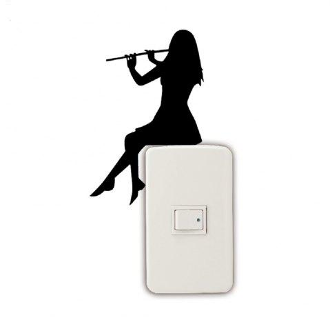 Online Girl Playing Flute Silhouette Light Switch Sticker Classical Music Wall Sticker Home Decor
