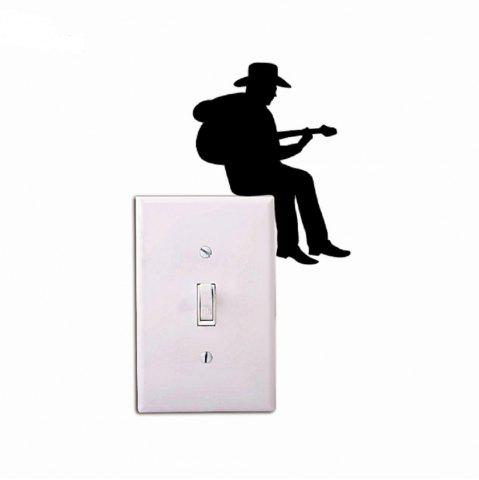 Affordable cowboy playing guitar silhouette light switch sticker cartoon vinyl music wall stickers home decor