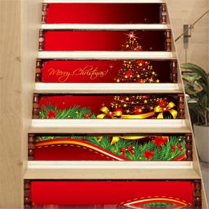 ZB014 Personalized Christmas Tree 3d Self-Adhesive Painting Decorative Stairs Sticker -