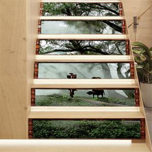 ZB19 Creative Corridor 3d Chinese Style Dawn Young Shepherd Decorative Wall Sticker Stairs Sticker -