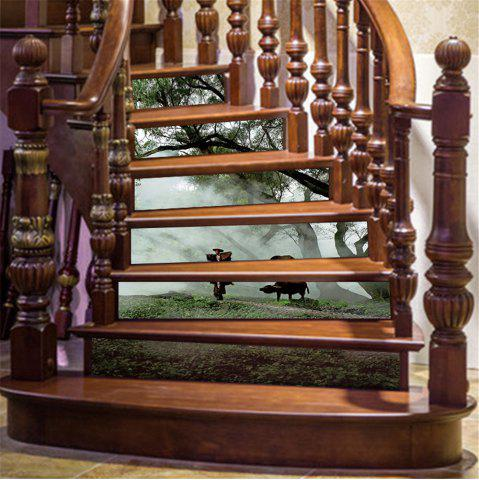 Latest ZB19 Creative Corridor 3d Chinese Style Dawn Young Shepherd Decorative Wall Sticker Stairs Sticker