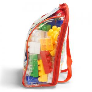 Children pp big granule puzzle early education plastic collage of building block toy small backpack collection -