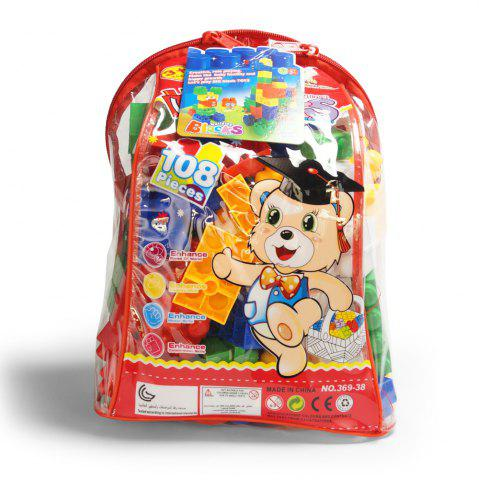 New Children pp big granule puzzle early education plastic collage of building block toy small backpack collection
