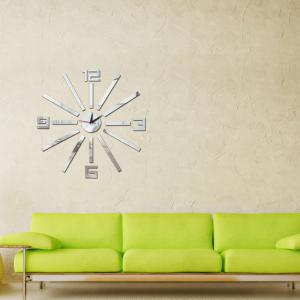 3D DIY Removable Acrylic Mirror Wall Clock Living Room Decoration -