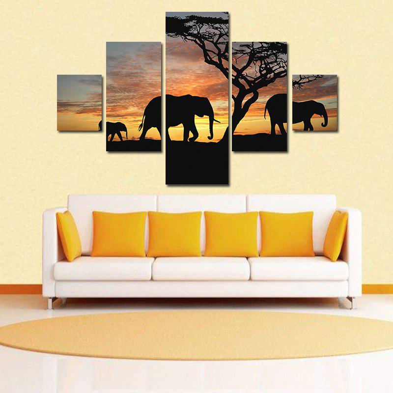 Colormix Modern Frameless Canvas Prints Of Elephants For Home Wall ...