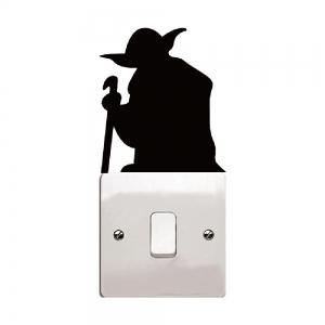 Cartoon Yoda Light Switch Sticker Vinyl Wall Stickers for Kids Room Home Decor -
